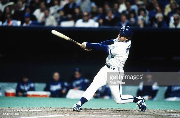 George Brett of the Kansas City Royals bats during World Series game seven between the St Louis Cardinals and Kansas City Royals on October 27 1985...