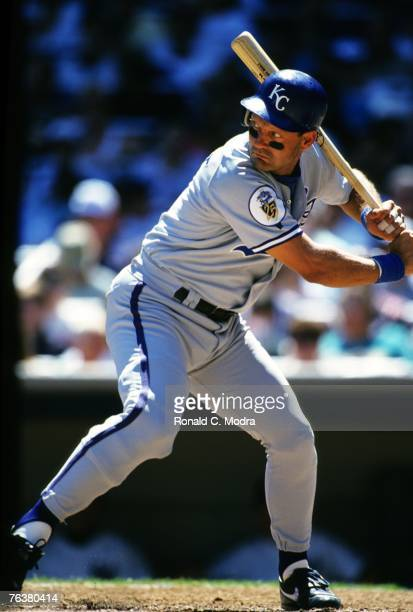 George Brett of the Kansas City Royals batting against the New York Yankees during a MLB game at Yankee Stadium on August 22 1993 in the Bronx New...