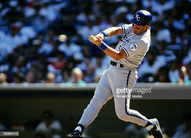 George Brett of the Kansas City Royals batting against the New York Yankees during a MLB game at Yankee Stadium on August 21 1993 in the Bronx New...