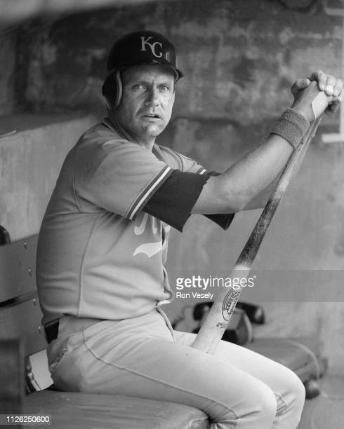 George Brett of the Kansas City Royals candid during an MLB game at Comiskey Park in Chicago Illinois Brett played for the Kansas City Royals from...