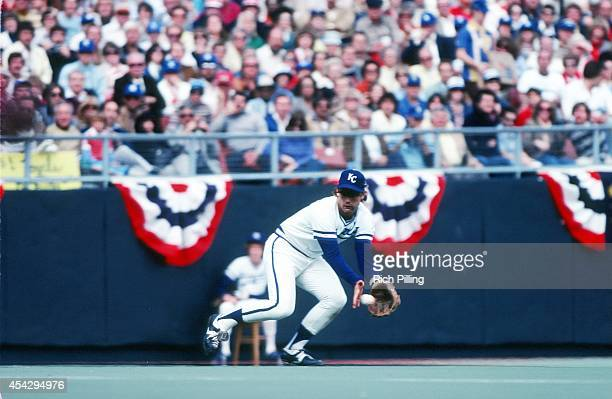 George Brett of the Kansas City Royals fields a ground ball during World Series game four between the Kansas City Royals and Philadelphia Phillies on...