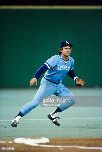 George Brett of the Kansas City Royals fields against the Philadelphia Phillies during the World Series at Veterans Stadium in Philadelphia...