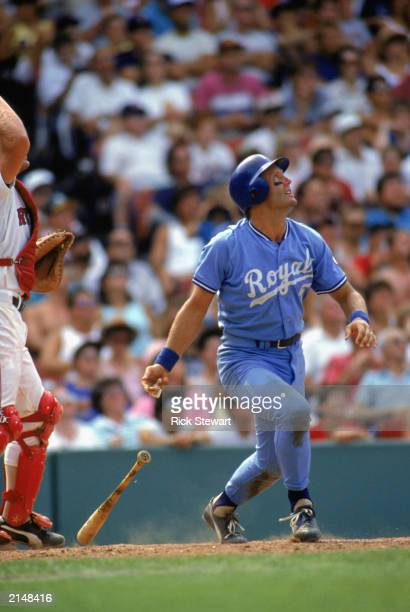 George Brett of the Kansas City Royals follows the hit during a MLB game in the 1988 season