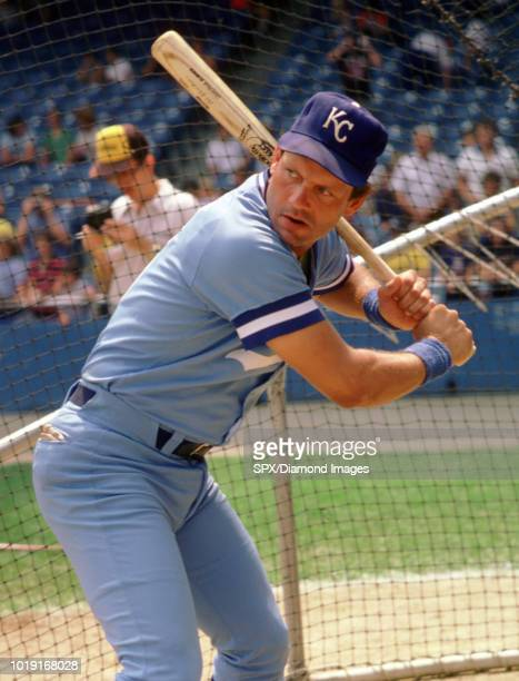 George Brett of the Kansas City Royals in the batting cage before a game from his 1984 season with the Kansas City Royals George Brett played for 21...