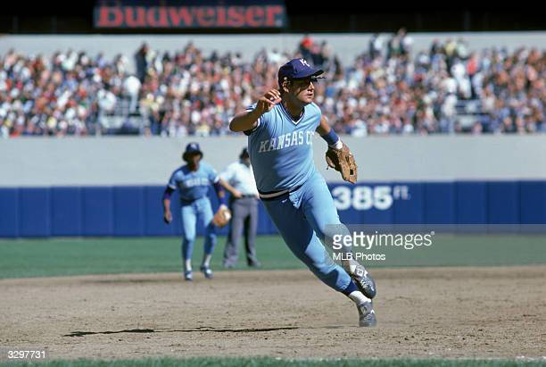 George Brett of the Kansas City Royals jumps into action to field a play during the game against the New York Yankees circa 1981 at the Bronx New York