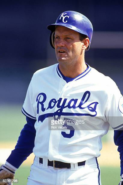 George Brett of the Kansas City Royals looks on during a game circa 19731993