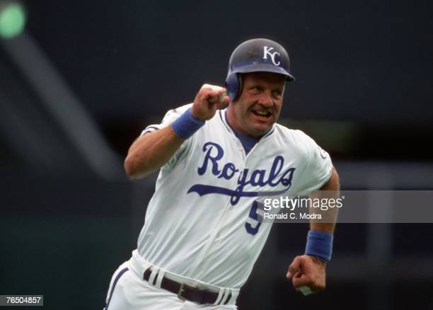 George Brett of the Kansas City Royals running the bases during a MLB game against the New York Yankees on September 20 1992 in Kansas City Missouri