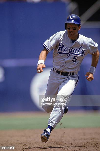 George Brett of the Kansas City Royals runs the baseline during a 1992 season game George Brett played for the Royals from 19731993