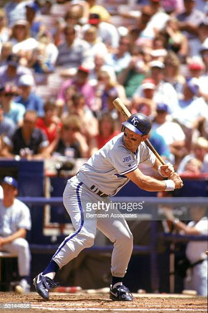 George Brett of the Kansas City Royals stands ready at the plate during a game against the California Angels at Angels stadium on August 5 1993 in...
