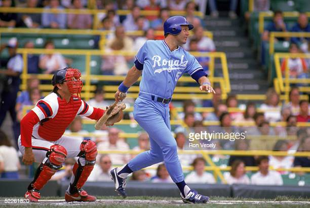 George Brett of the Kansas City Royals watches the flight of the ball as he follows through on his swing during a game circa 19731993