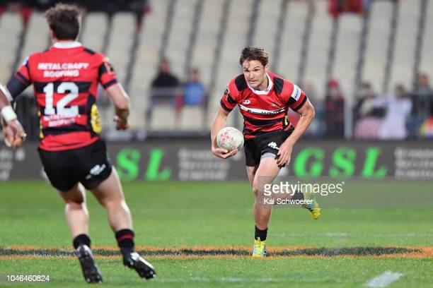 George Bridge of Canterbury charges forward during the round eight Mitre 10 Cup match between Canterbury and Taranaki at Christchurch Stadium on...