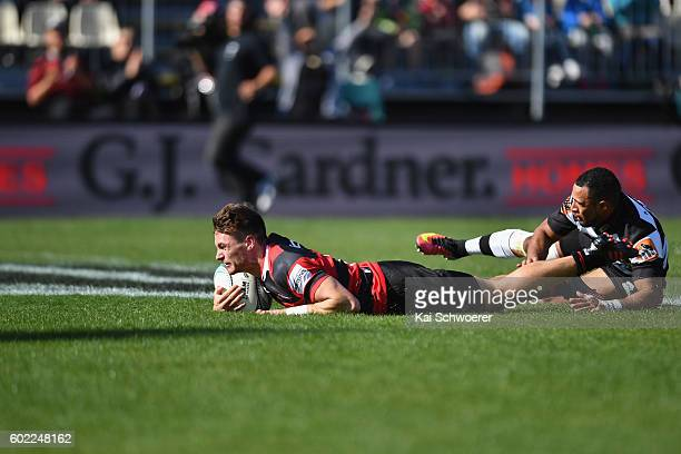 George Bridge of Canterbury dives over to score a try during the round four Mitre 10 Cup match between Canterbury and Hawke's Bay at AMI Stadium on...