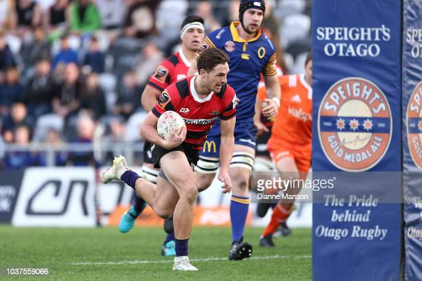 George Bridge of Canterbury heads towards the tryline during the round six Mitre 10 Cup match between Otago and Canterbury at Forsyth Barr Stadium on...