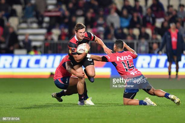 George Bridge of Canterbury is tackled during the Mitre 10 Cup Premiership Final match between Canterbury and Tasman at AMI Stadium on October 28...