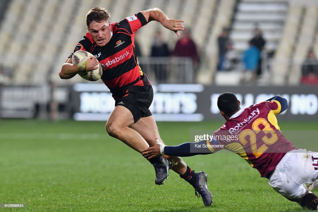 George Bridge of Canterbury runs through to score a try during the Ranfurly Shield round four Mitre 10 Cup match between Canterbury and Southland on September 8, 2017 in Christchurch, New Zealand.