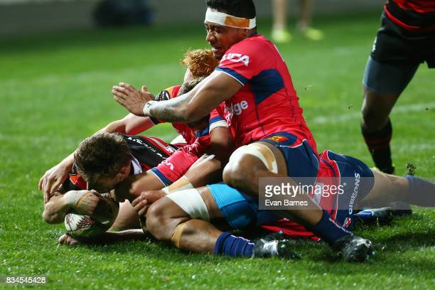 George Bridge of Canterbury scores the first try during the Mitre 10 Cup round one match between Tasman and Canterbury at Trafalgar Park on August 18...