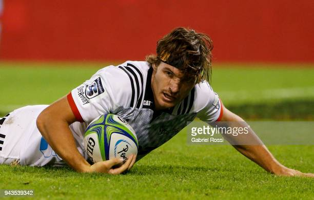 George Bridge of Crusaders scores a try during a match between Jaguares and Crusaders as part of 6th round of Super Rugby at Jose Amalfitani Stadium...