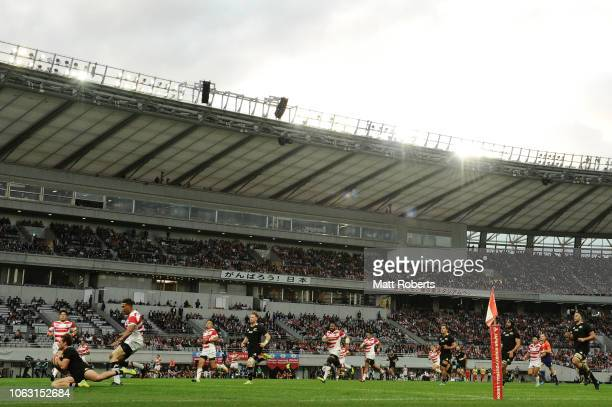 George Bridge of the All Blacks scores a try during the test match between Japan and New Zealand All Blacks at Tokyo Stadium on November 03 2018 in...