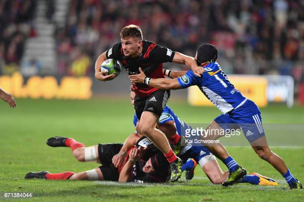 George Bridge of the Crusaders charges forward during the round nine Super Rugby match between the Crusaders and the Stormers at AMI Stadium on April...