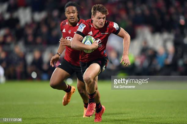 George Bridge of the Crusaders charges forward during the round six Super Rugby match between the Crusaders and the Reds at Orangetheory Stadium on...