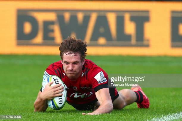 George Bridge of the Crusaders scores a try during the round four Super Rugby match between the Crusaders and Highlanders at Orangetheory Stadium on...