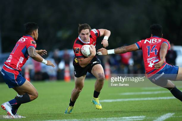 George Bridge on attack during the Mitre 10 Cup Semi Final Tasman v Canterbury on October 19 2018 in Nelson New Zealand