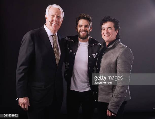 George Briner Thomas Rhett and Scott Borchetta attend Big Machine Label Group Celebrates the 52nd Annual CMA Awards in Nashville at FGL House on...