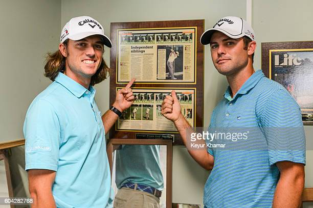 George Bryan IV and Wesley Bryan pose with a Golfweek magazine article on them displayed at George Bryan Golf Academy on May 24 2016 in Chapin South...