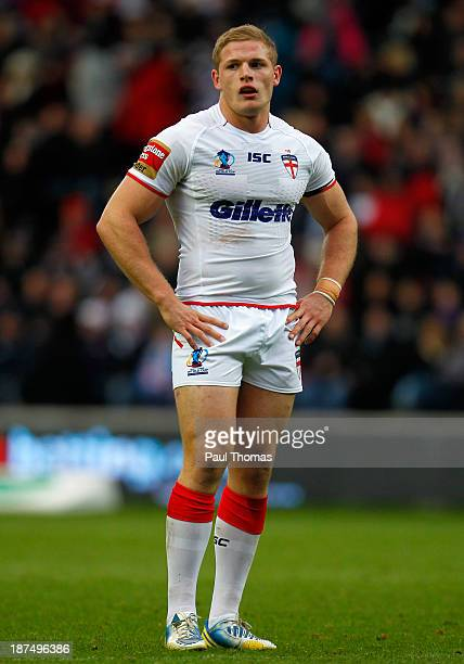 George Burgess of England watches on during the Rugby League World Cup Group A match at the KC Stadium on November 9 2013 in Hull England