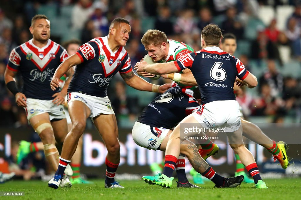 George Burgess of the Rabbitohs is tackled during the round 18 NRL match between the Sydney Roosters and the South Sydney Rabbitohs at Allianz Stadium on July 7, 2017 in Sydney, Australia.