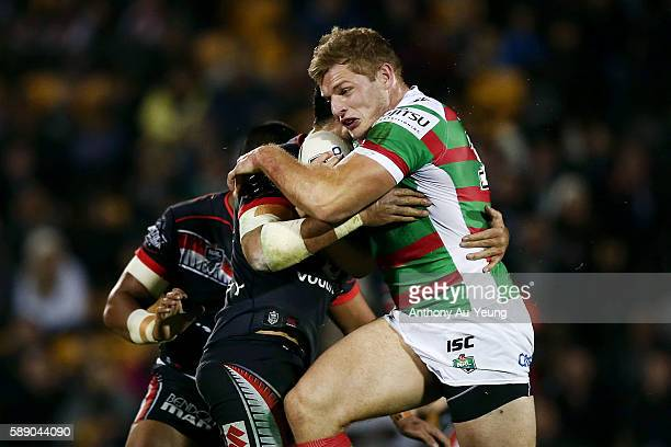 George Burgess of the Rabbitohs on the charge during the round 23 NRL match between the New Zealand Warriors and the South Sydney Rabbitohs at Mount...