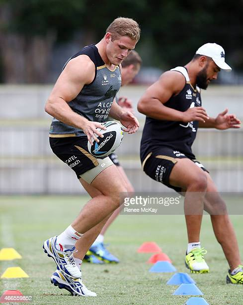 George Burgess warms up during a South Sydney Rabbitohs NRL training session at Redfern Oval of Sport on March 17 2015 in Sydney Australia