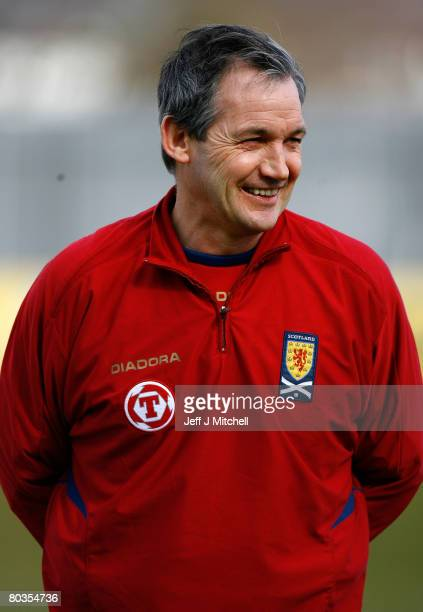 George Burley, the new Scotland coach, smiles during a team training session at the Strathclyde Homes Stadium March 24, 2008 in Scotland, Dumbarton....