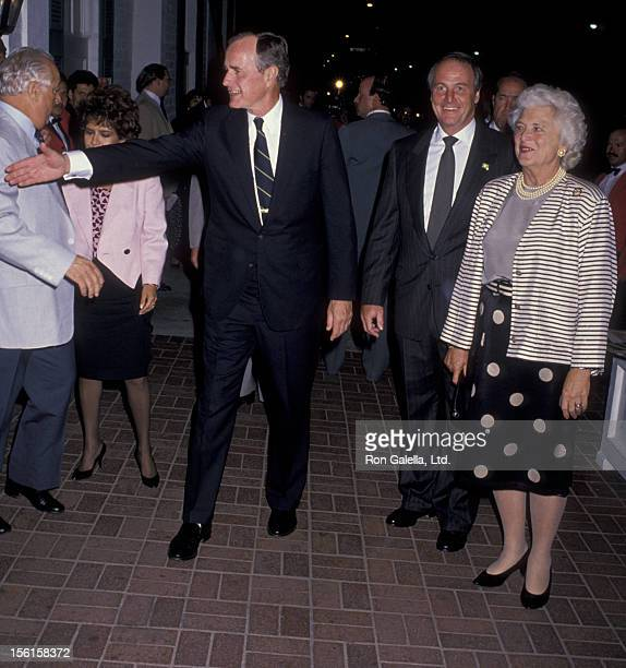 George Bush and Barbara Bush sighted on October 14 1988 at Chasen's Restaurant in Beverly Hills California