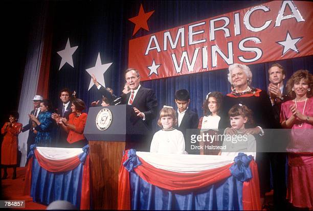 George Bush makes a speech in celebration of his victory November 8, 1988 in USA. Bush won the presidential election with 53 percent of the vote and...