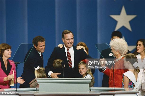 George Bush on the podium at the 1992 Republican National Convention He is joined by daugtherinlaw Laura Bush her husband George W and her daughter...