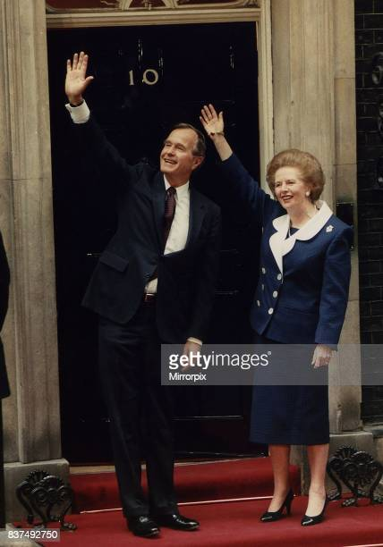 George Bush President of the United States with Prime Minister Margaret Thatcher on the steps of 10 Downing Street.