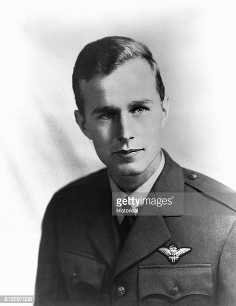 George Bush served in the Navy from June 1942 to September 1945 rising to the rank of lieutenant Circa 1943 | Location indoors