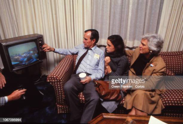 George Bush Snr and his family watch the election results in the hotel room on November 8 1988 in Houston TX