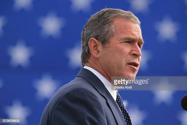 George Bush speaks in Seattle, Washington, during his presidential campaign tour. Bush won the 2000 Presidential Election against Vice President Al...