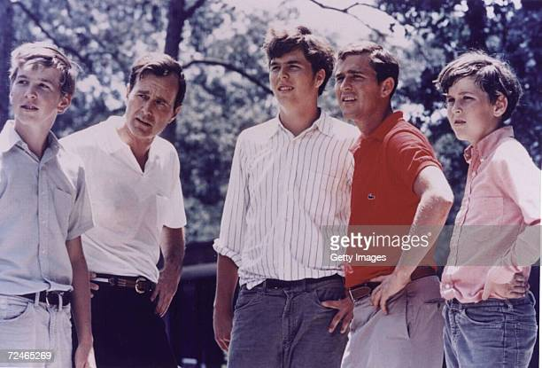 George Bush Sr with his four sons left to right Neil Jeb George W and Marvin in 1970 George W Bush is currently campaigning for the Republican party...