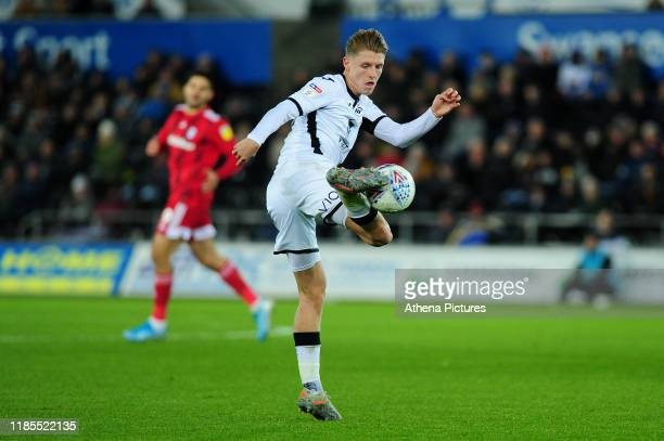 George Byers of Swansea City in action during the Sky Bet Championship match between Swansea City and Fulham at the Liberty Stadium on November 29,...