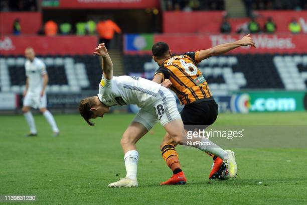 George Byers,Kevin Stewart during the Sky Bet Championship match between Swansea City and Hull City at the Liberty Stadium, Swansea on Saturday 27th...