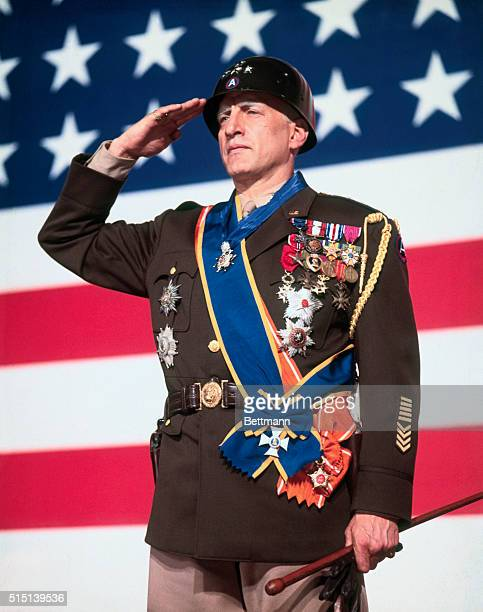 George C Scott nominated for Best Actor of 1970 in the 43rd Academy Awards competition for his role in Patton is shown as World War II General George...