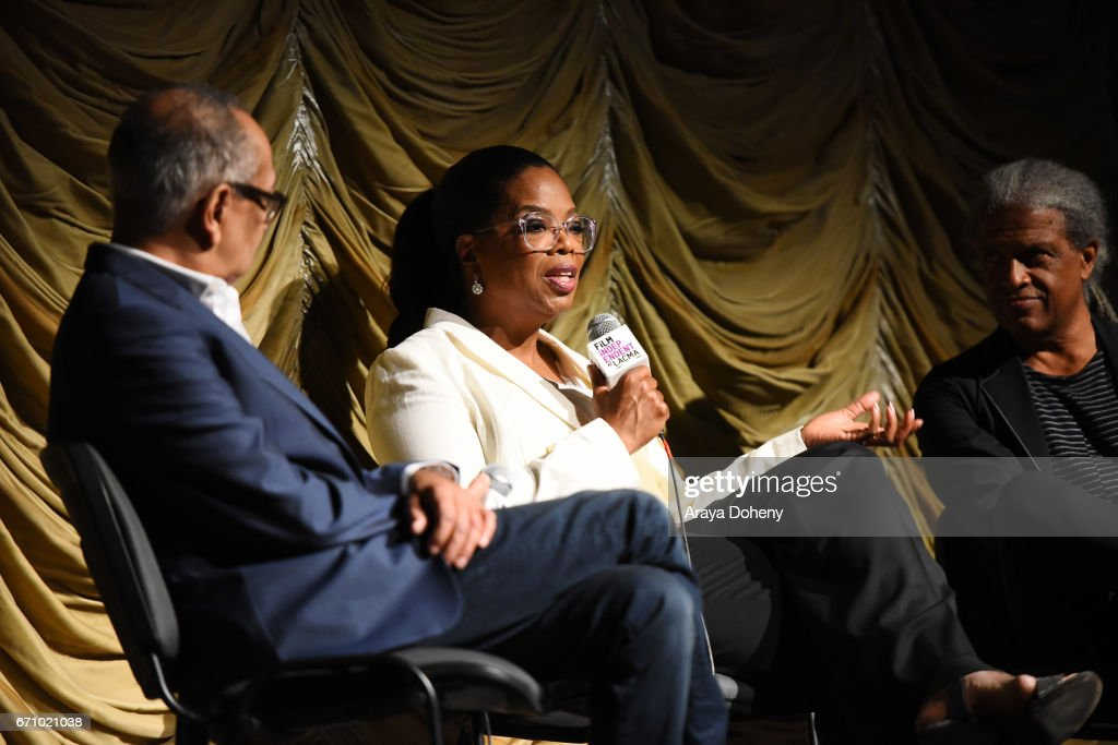 George C. Wolfe, Oprah Winfrey and Elvis Mitchell attend the Film Independent at LACMA Special Screening and Q&A of 'The Life Of Henrietta Lacks' at Bing Theatre At LACMA on April 20, 2017 in Los Angeles, California.