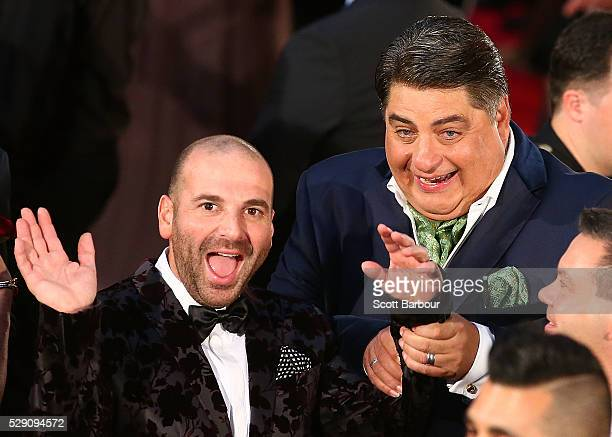 George Calombaris and Matt Preston gesture as they arrive at the 58th Annual Logie Awards at Crown Palladium on May 8 2016 in Melbourne Australia