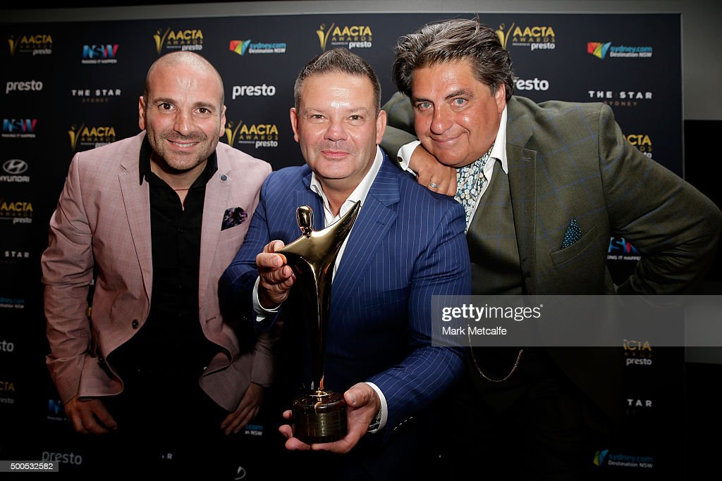 George Calombaris, Gary Mehigan and Matt Preston pose win the AACTA for Best Reality Television Series during the 5th AACTA Awards Presented by Presto at The Star on December 9, 2015 in Sydney, Australia.