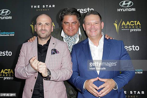 George Calombaris Matt Preston and Gary Mehigan arrive ahead of the 5th AACTA Awards Presented by Presto at The Star on December 9 2015 in Sydney...