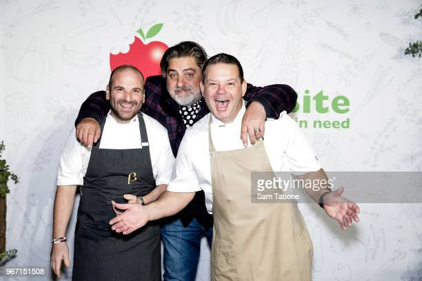 George Calombaris Matt Preston and Gary Mehigan attend the SecondBite Waste Not Want Not Gala at Melbourne Cricket Ground on June 4 2018 in Melbourne...