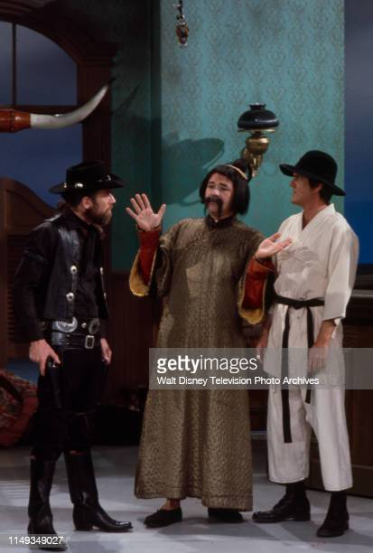 George Carlin Avery Schreiber Jack Burns appearing in Western / cowboy / KungFu themed sketch on the ABC tv series 'The Burns and Schreiber Comedy...